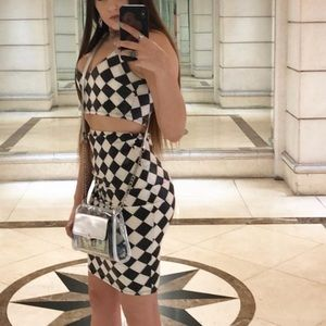 Fashion nova 2 piece set skirt and top checkered
